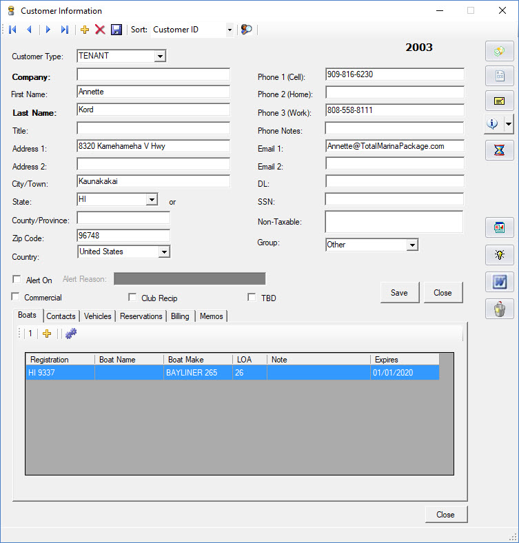 Total Marina Package: Marina Management Software Customer Window